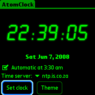 Atomclock Face 1 Atomclock review   atomic clock synchronising for your Palm
