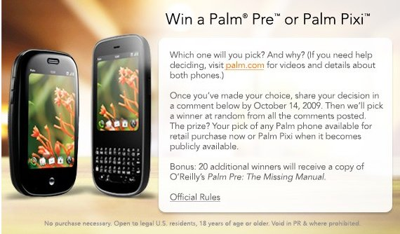 palm pixi giveaway Palm launches little giveaway   one Pre or Pixi