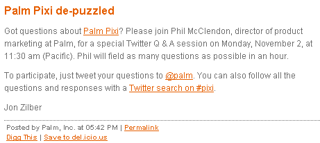 palm pixi questions and answers Palm Pixi: Q&A session on Twitter