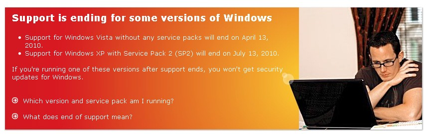 windows end of life Windows 2000, XP SP2, Vista SP0 hit EOL soon